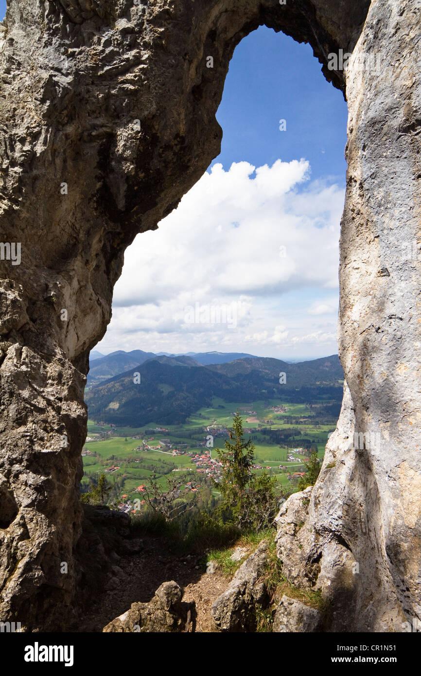 Breitensteinfenster rock window at Mt. Breitenstein near Fischbachau, Alps, Upper Bavaria, Germany, Europe - Stock Image