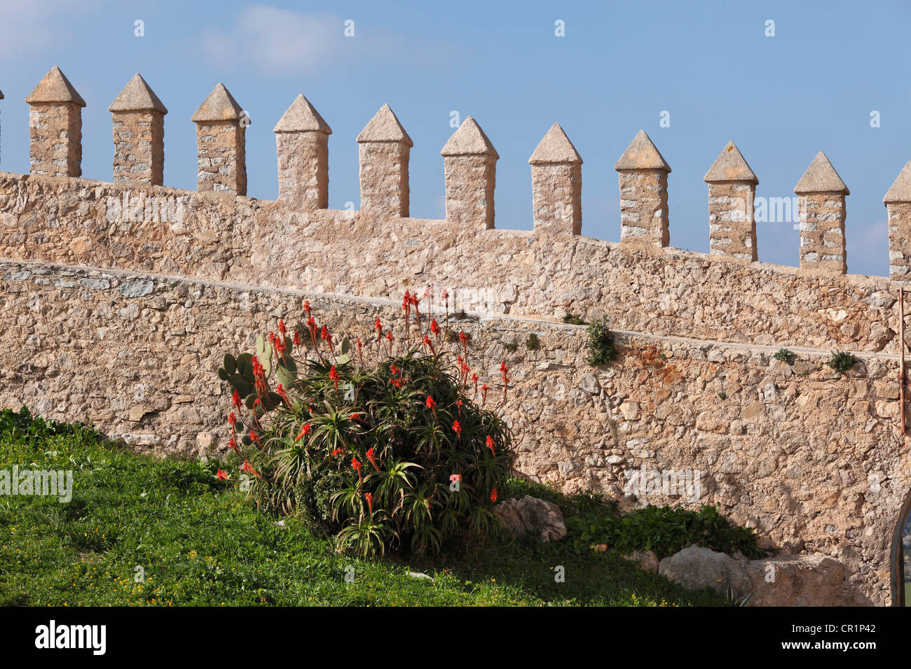 Defensive wall of the castle, Arta, Majorca, Balearic Islands, Spain, Europe - Stock Image