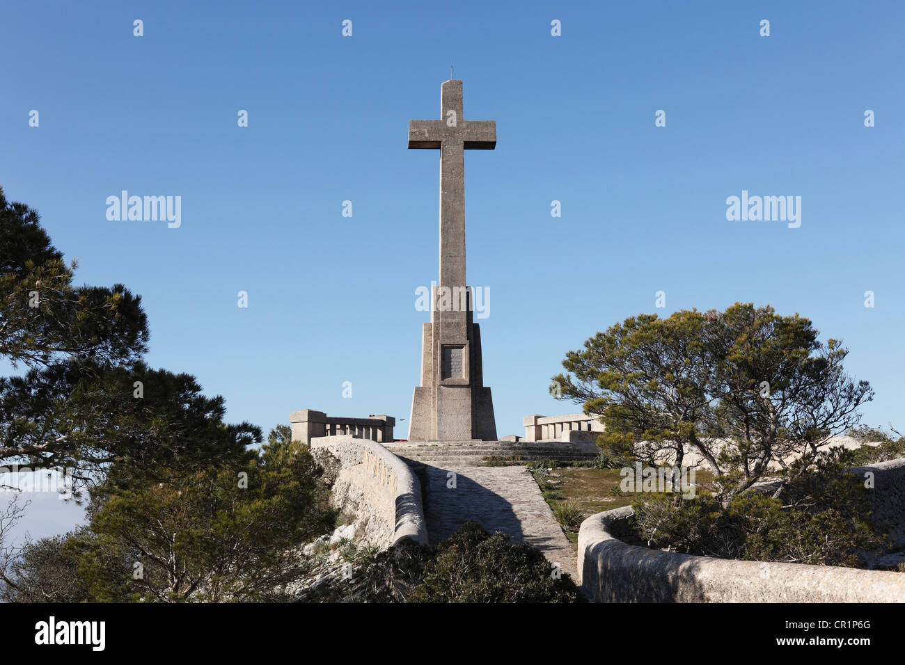 Cross at the Puig de San Salvador, Felanitx, Majorca, Balearic Islands, Spain, Europe - Stock Image