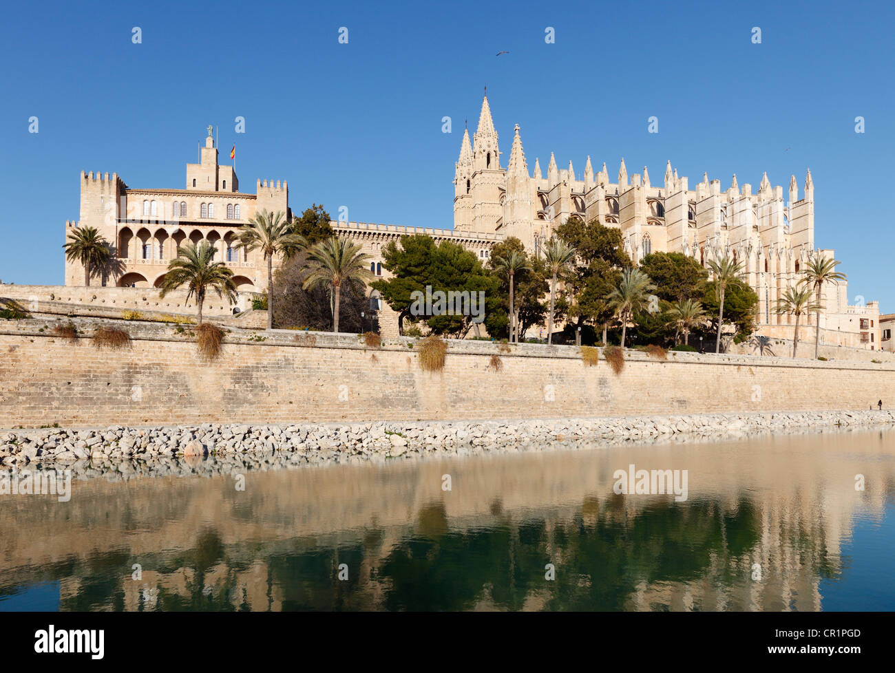 La Seu Cathedral, Parc de Mar, Palma de Majorca, Majorca, Balearic Islands, Spain, Europe - Stock Image