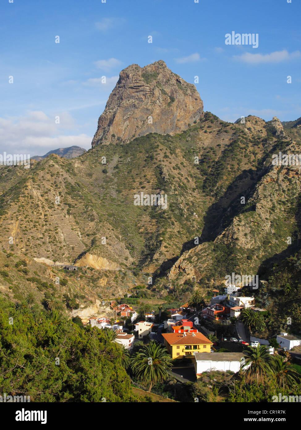 Roque Cano, Vallehermoso, La Gomera, Canary Islands, Spain, Europe - Stock Image