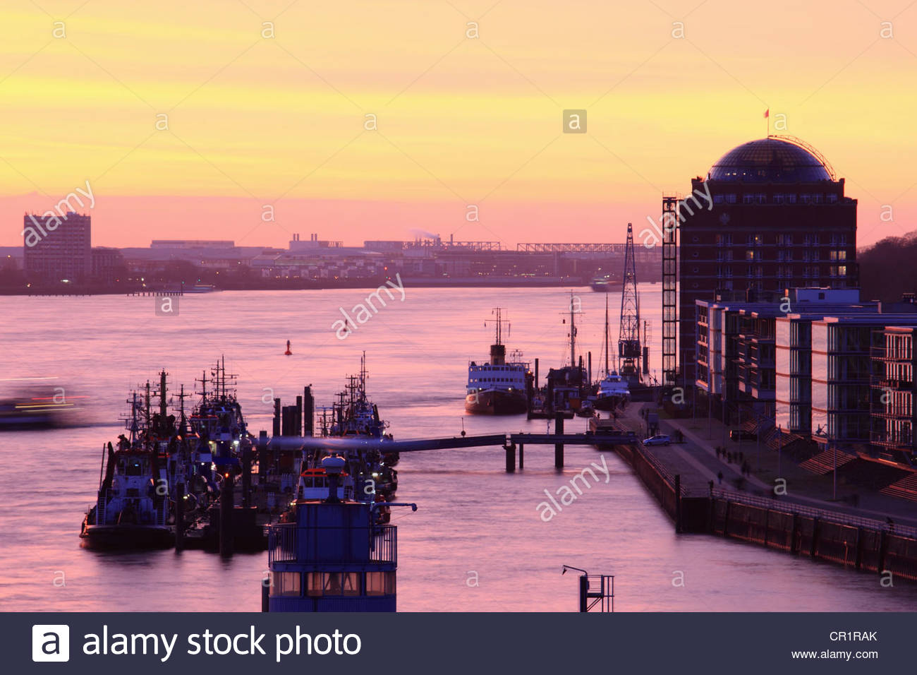 Aerial view of trawlers in urban pier Stock Photo
