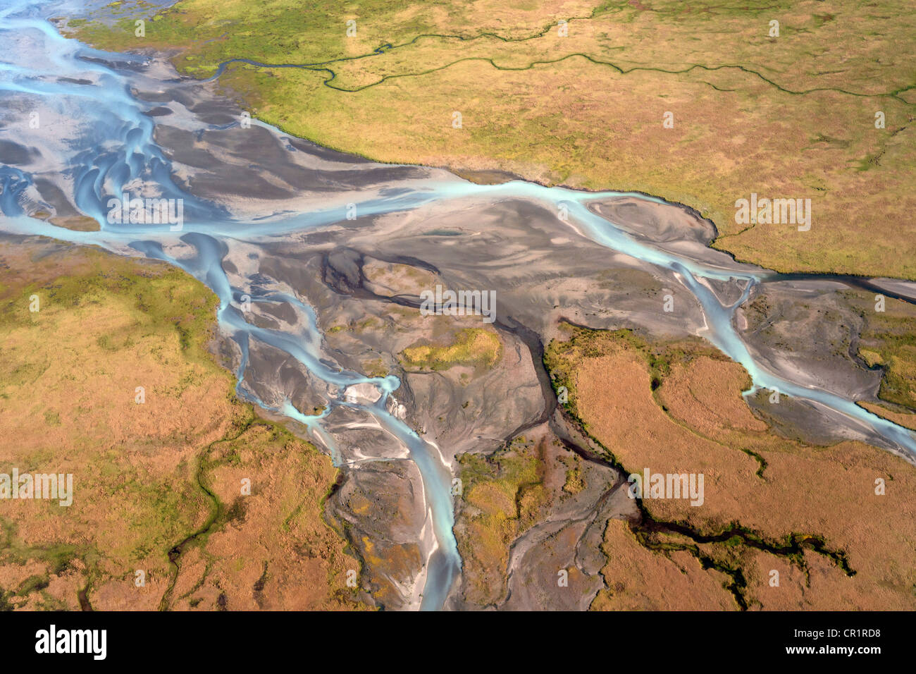 Sandy plain with the glacial runoff of the Joekulsarlon glacier, aerial view, Iceland, Europe - Stock Image