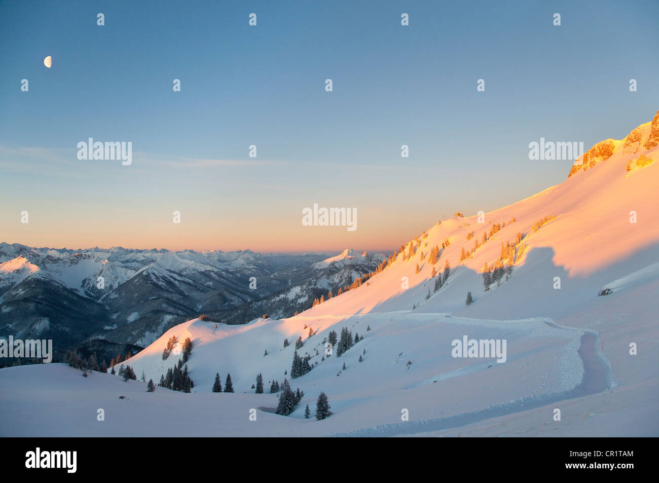Aerial view of snowy landscape - Stock Image