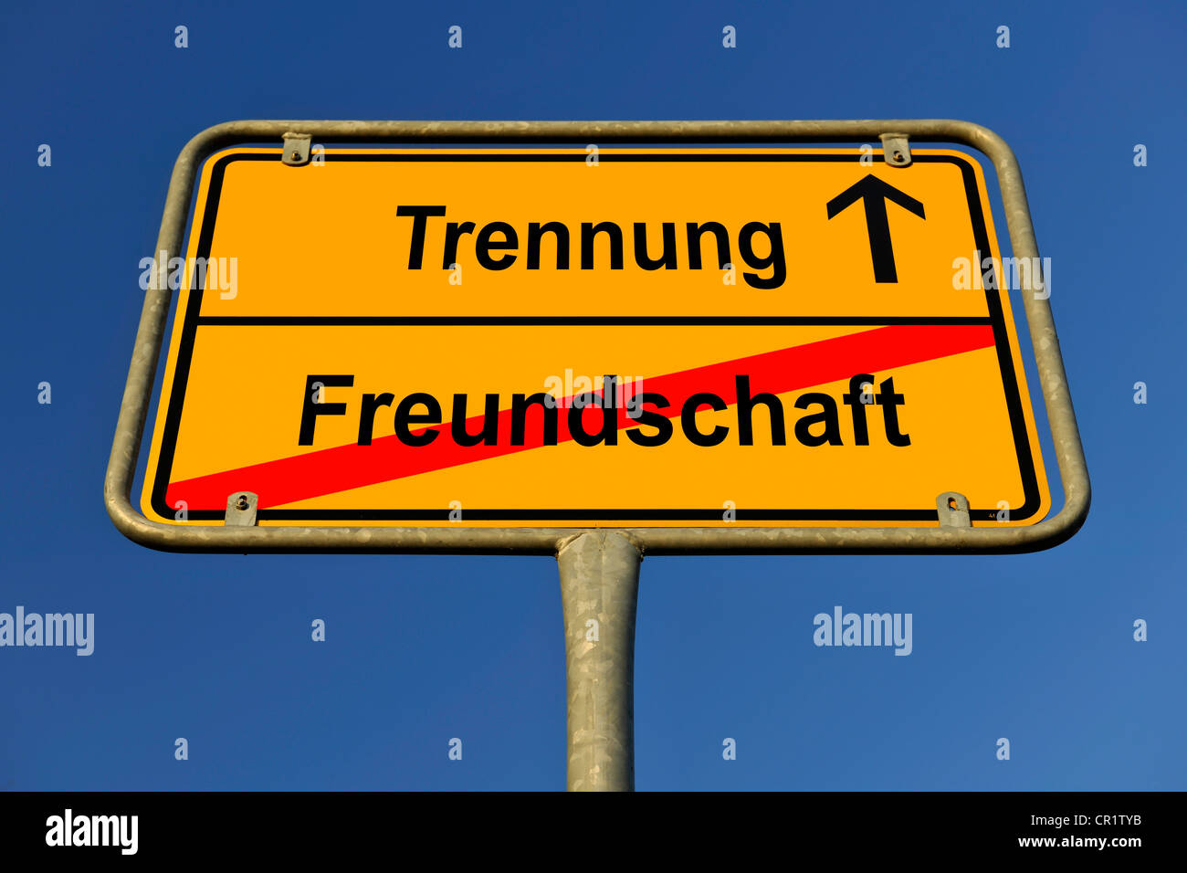 City limit sign, symbolic image for the way from Freundschaft to Trennung, German for going from having a friendship to having a Stock Photo