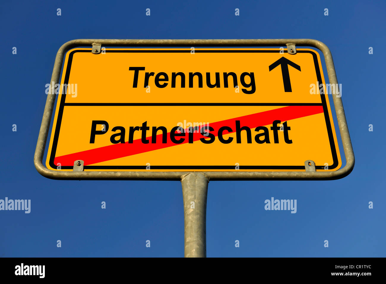 City limit sign, symbolic image for the way from Partnerschaft to Trennung, German for going from being in a partnership to Stock Photo