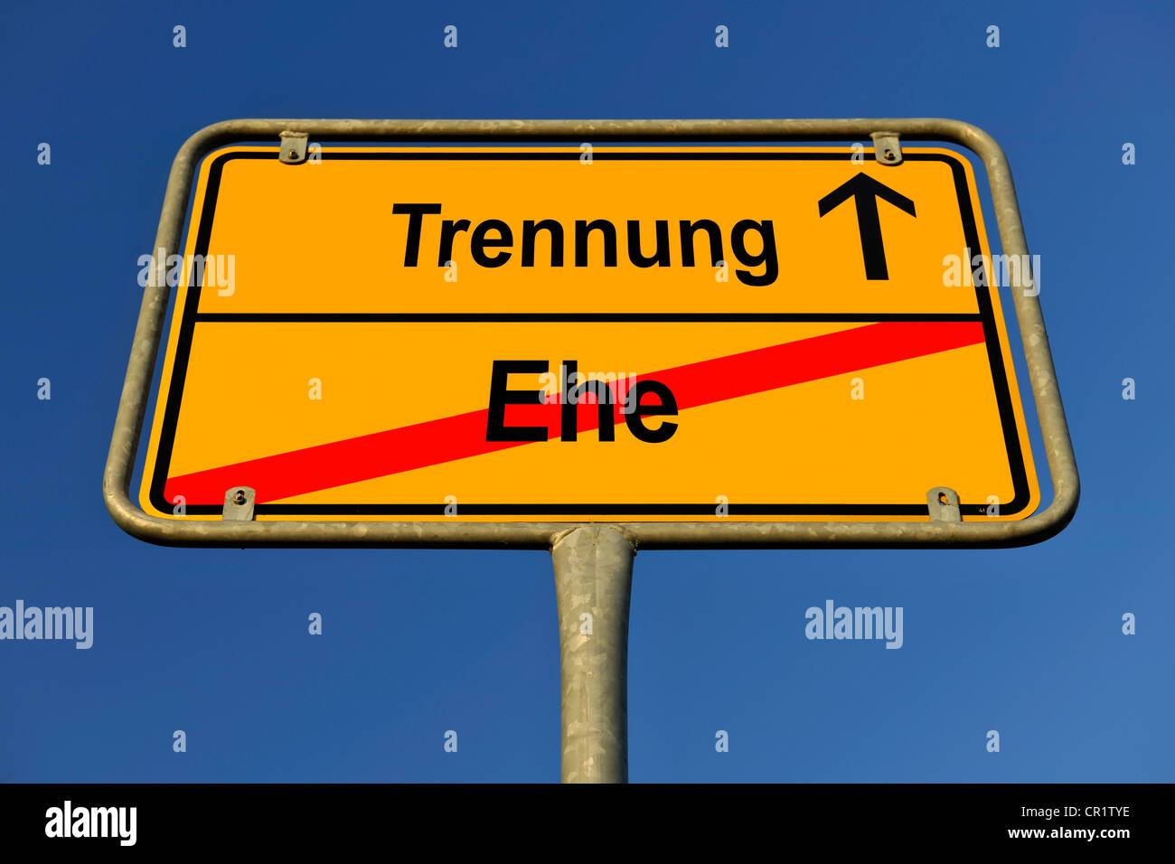 City limit sign, symbolic image for the way from Ehe to Trennung, German for going from being married to having - Stock Image
