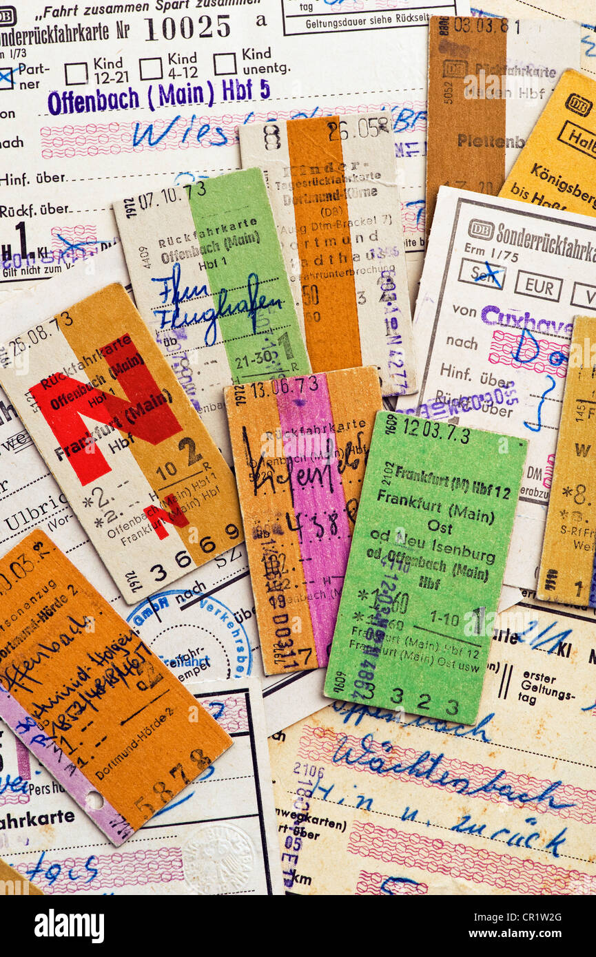 Edmondson railway tickets, train tickets on cardboard, Deutsche Bundesbahn, 1970s - Stock Image