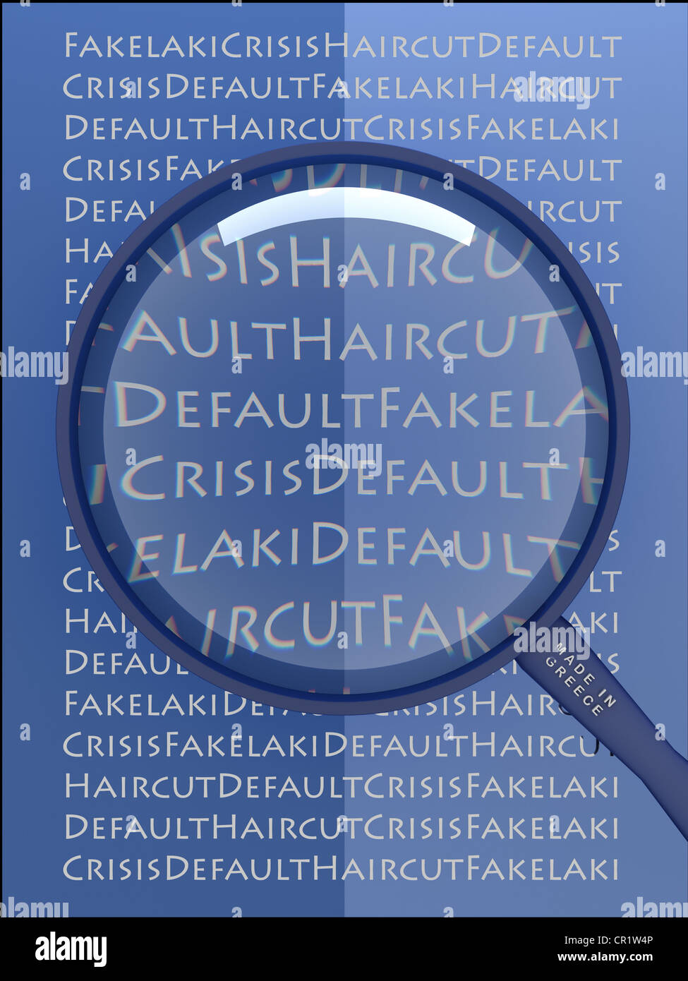 Words in Greek script through a magnifying glass, symbolic image for the Greek debt crisis - Stock Image