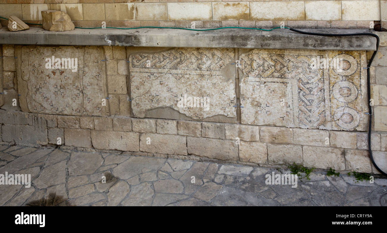 Byzantine mosaic floors found at the Church of the Annunciation in Nazareth, Israel - Stock Image