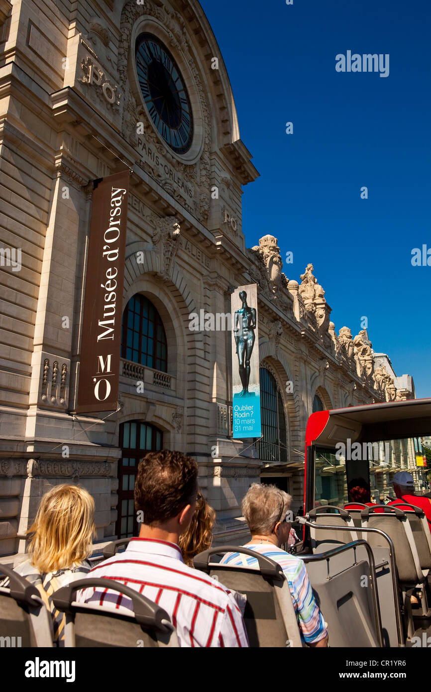 France, Paris, tourist trip on double decker bus, passing by Musee d'Orsay - Stock Image