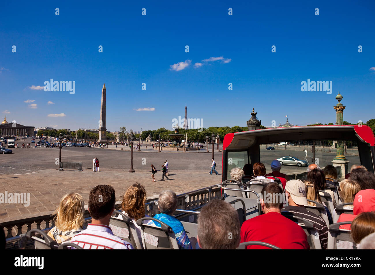 France, Paris, tourist trip on double decker bus, passing by la Concorde - Stock Image