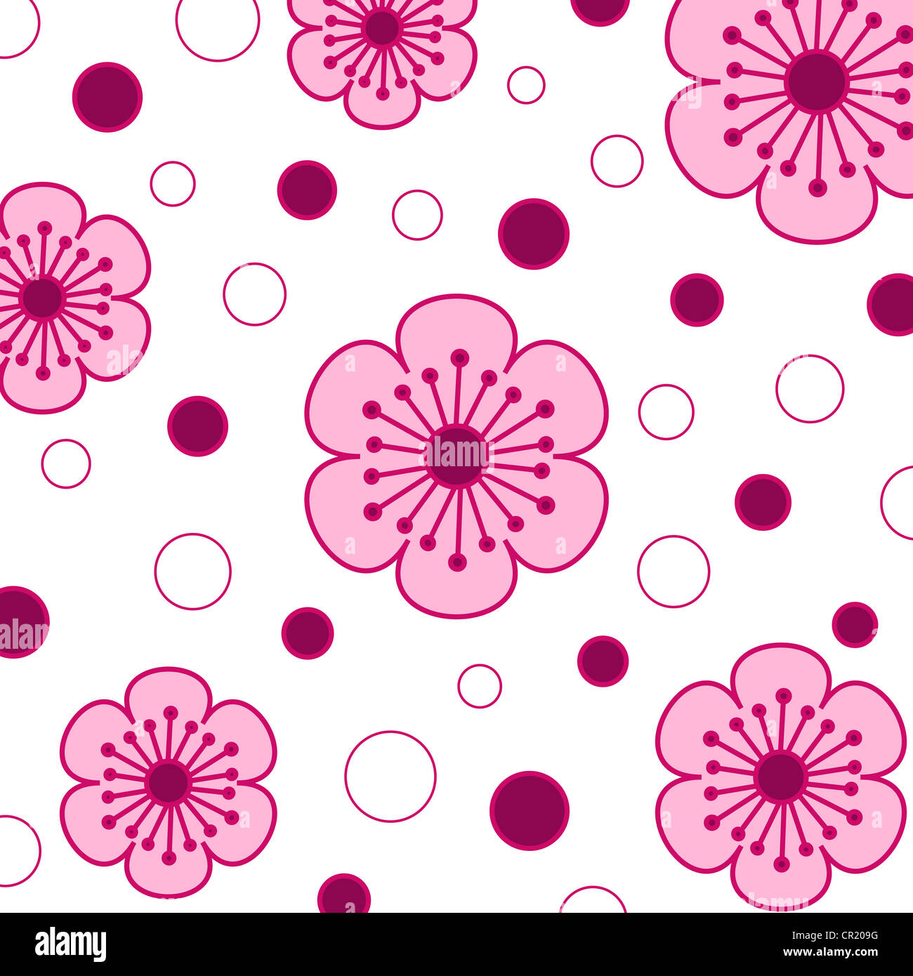 Funky pink floral and circle pattern on white Stock Photo