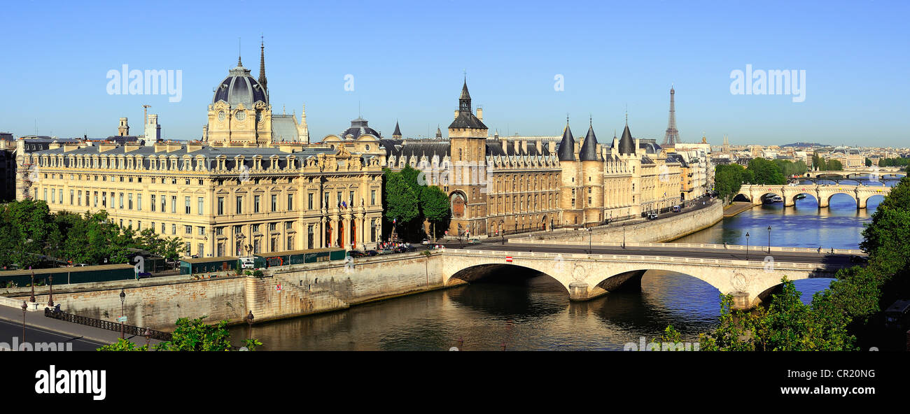 France, Paris, the banks of the Seine river UNESCO World Heritage with from left to right the commercial court, - Stock Image