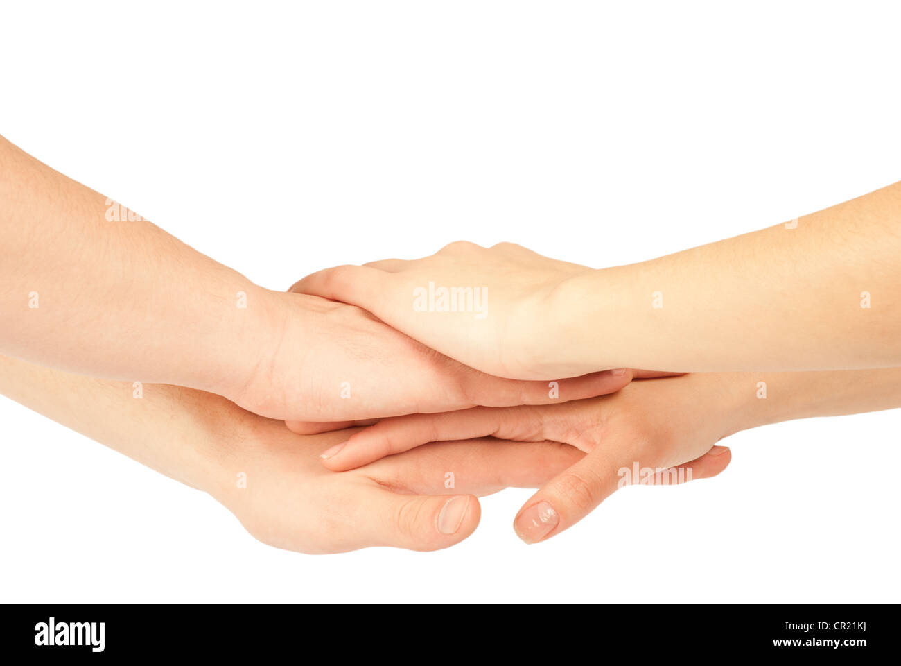 Hands on top of each other. Symbolic picture. - Stock Image
