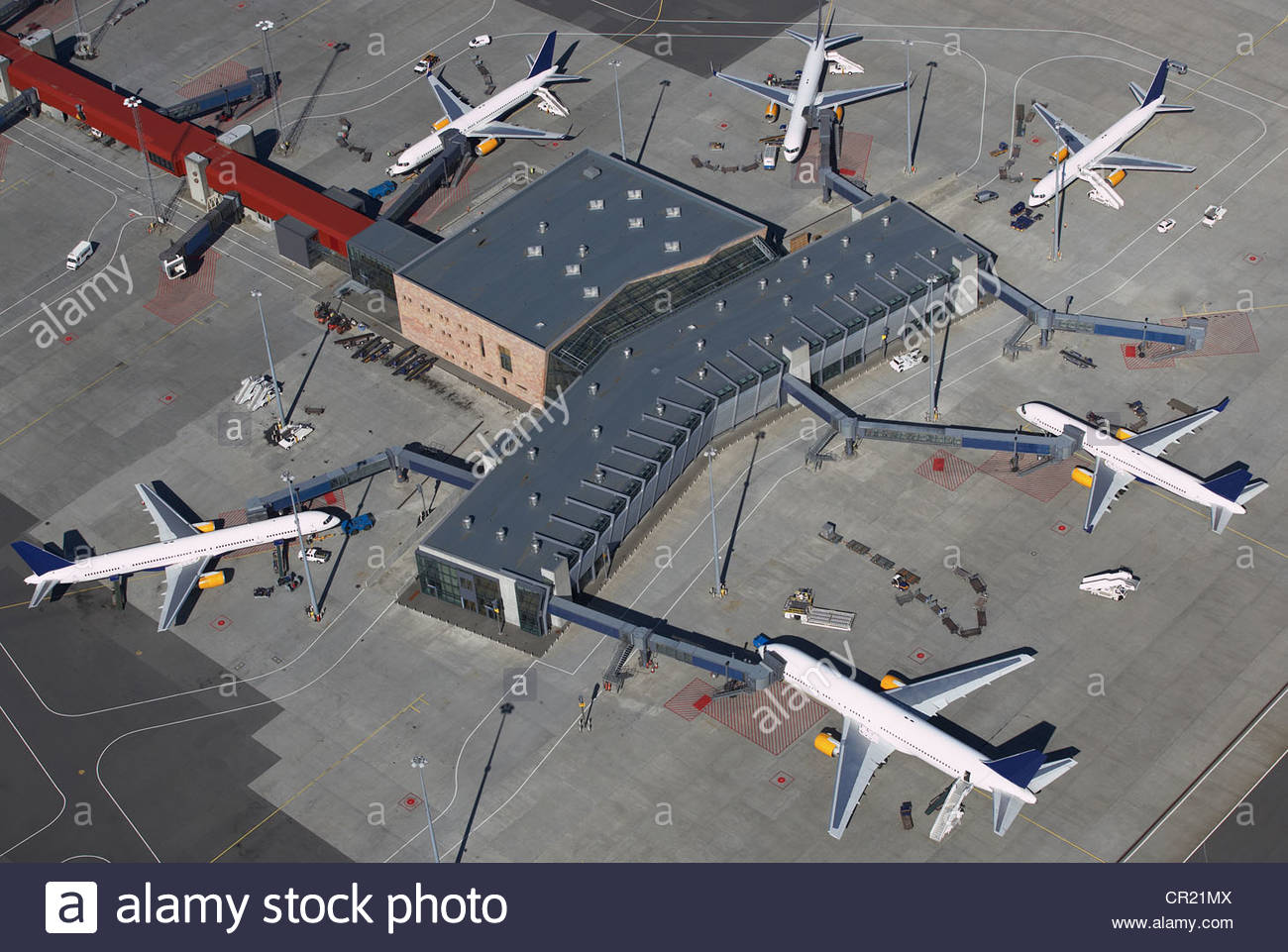 Aerial view of planes at airport - Stock Image