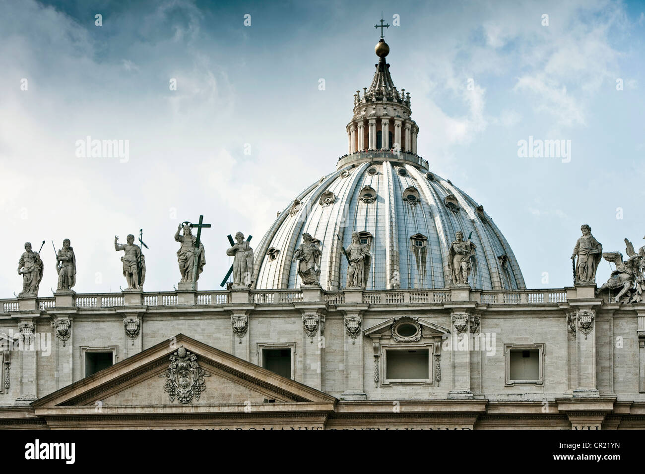 Statues of St Peters Square in Rome Stock Photo