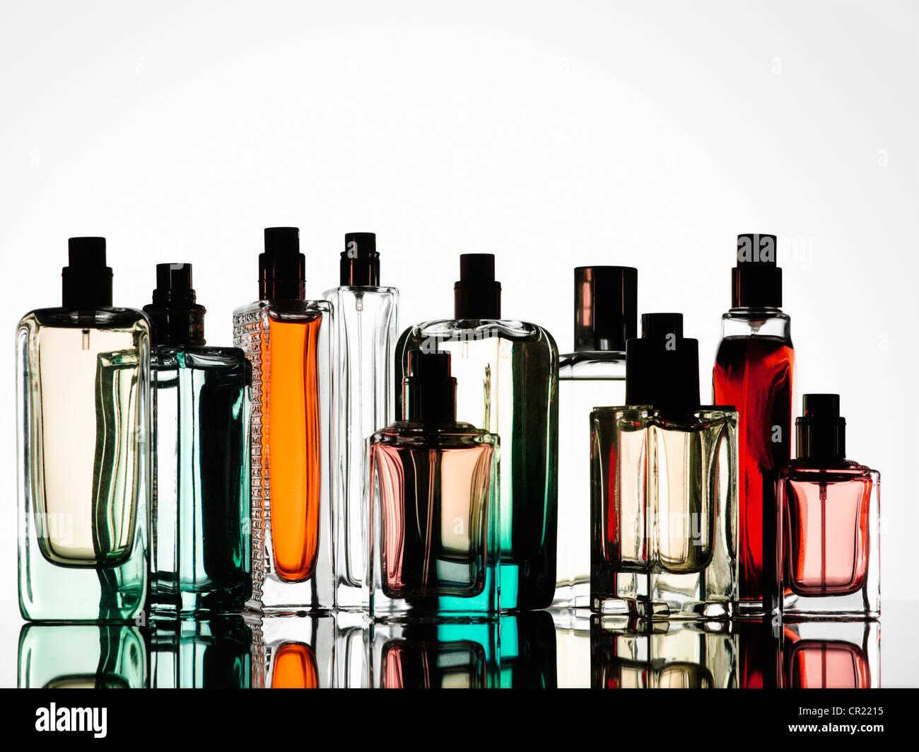 Close up of perfume bottles - Stock Image