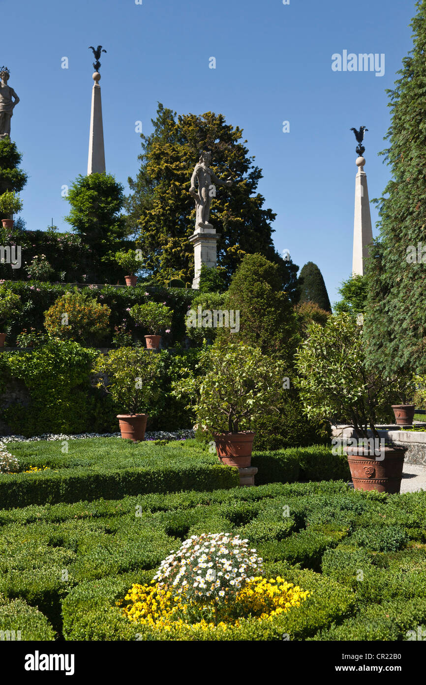 Shrubs and plants in ornate gardens - Stock Image