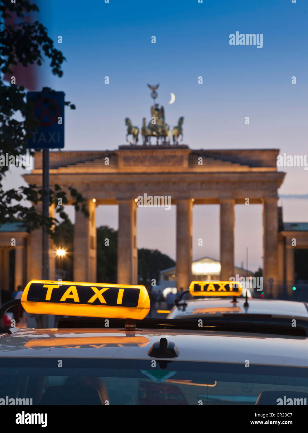 Close up of taxi signs on cabs - Stock Image