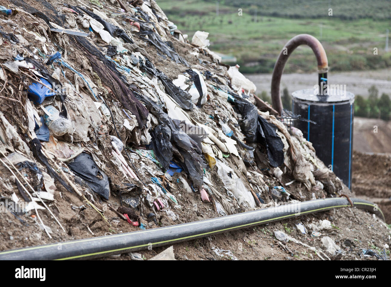 Landfill at garbage collection center - Stock Image