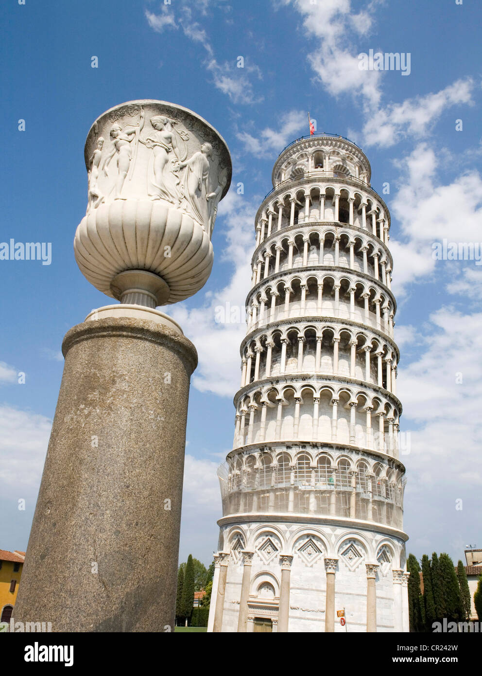 Statue with Tower of Pisa - Stock Image