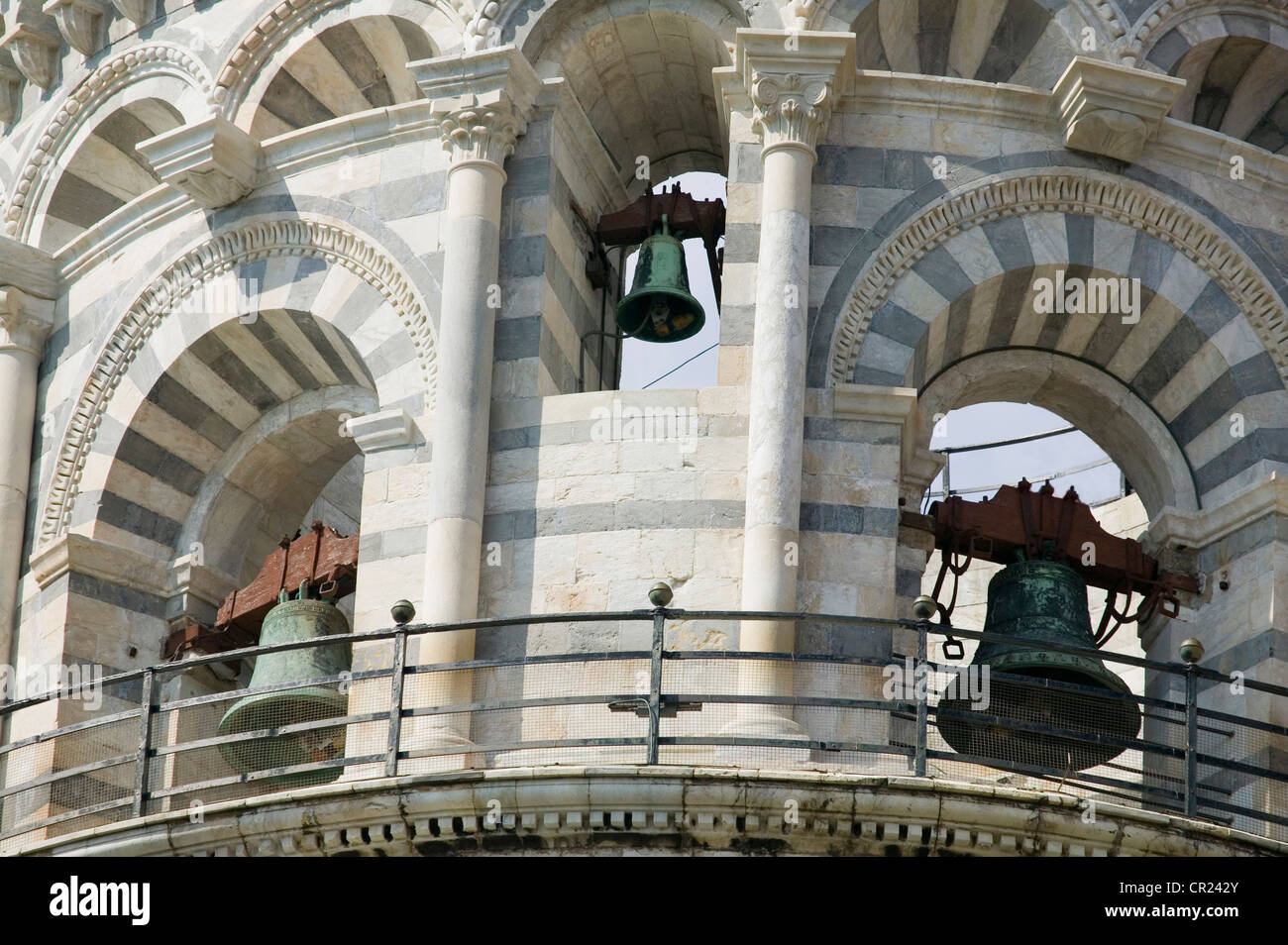Close up of church bells in archways - Stock Image