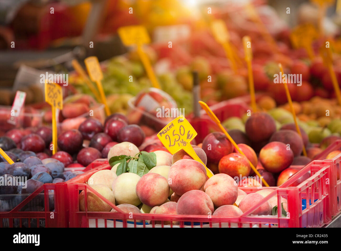 Close up of produce for sale - Stock Image