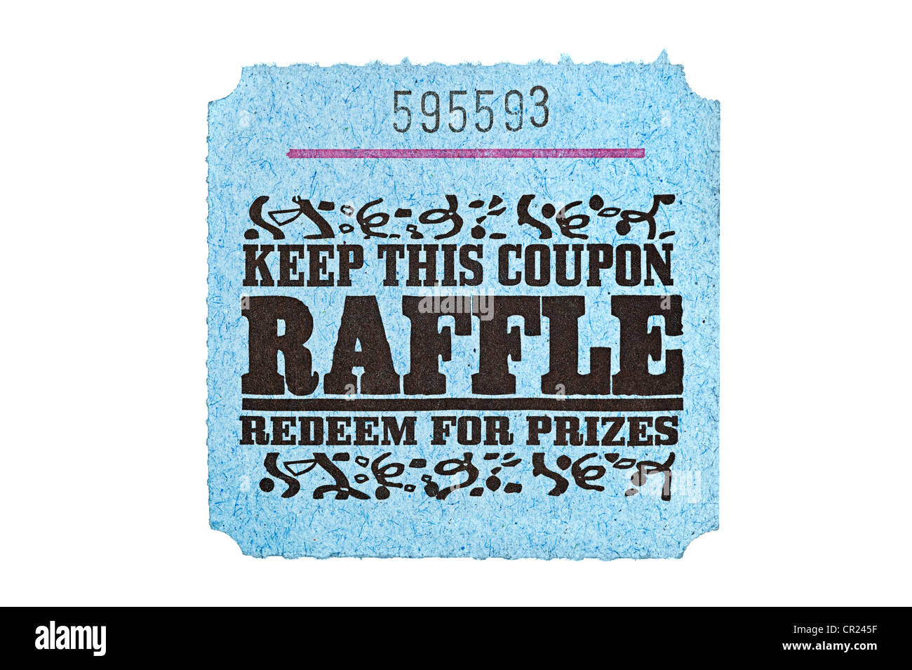 a classic raffle drawing ticket stub for prize redemption stock