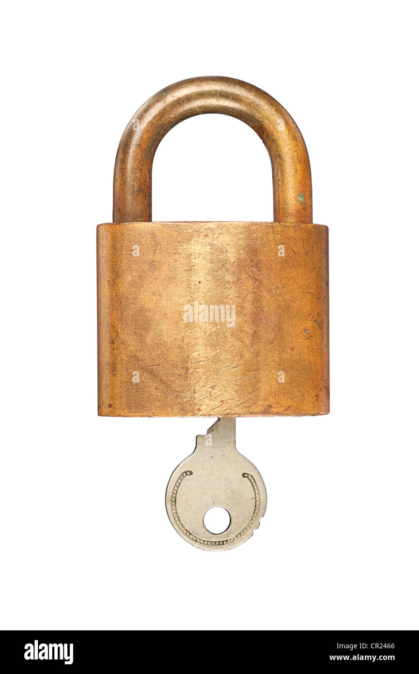 An old USN (United States Navy) brass lock and key isolated on white. Stock Photo