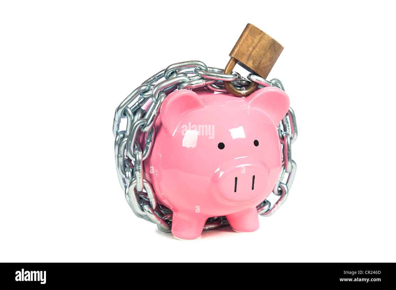 A pink piggybank chained up and locked. Image can be used for financial protection inferences or other investment messages. Stock Photo