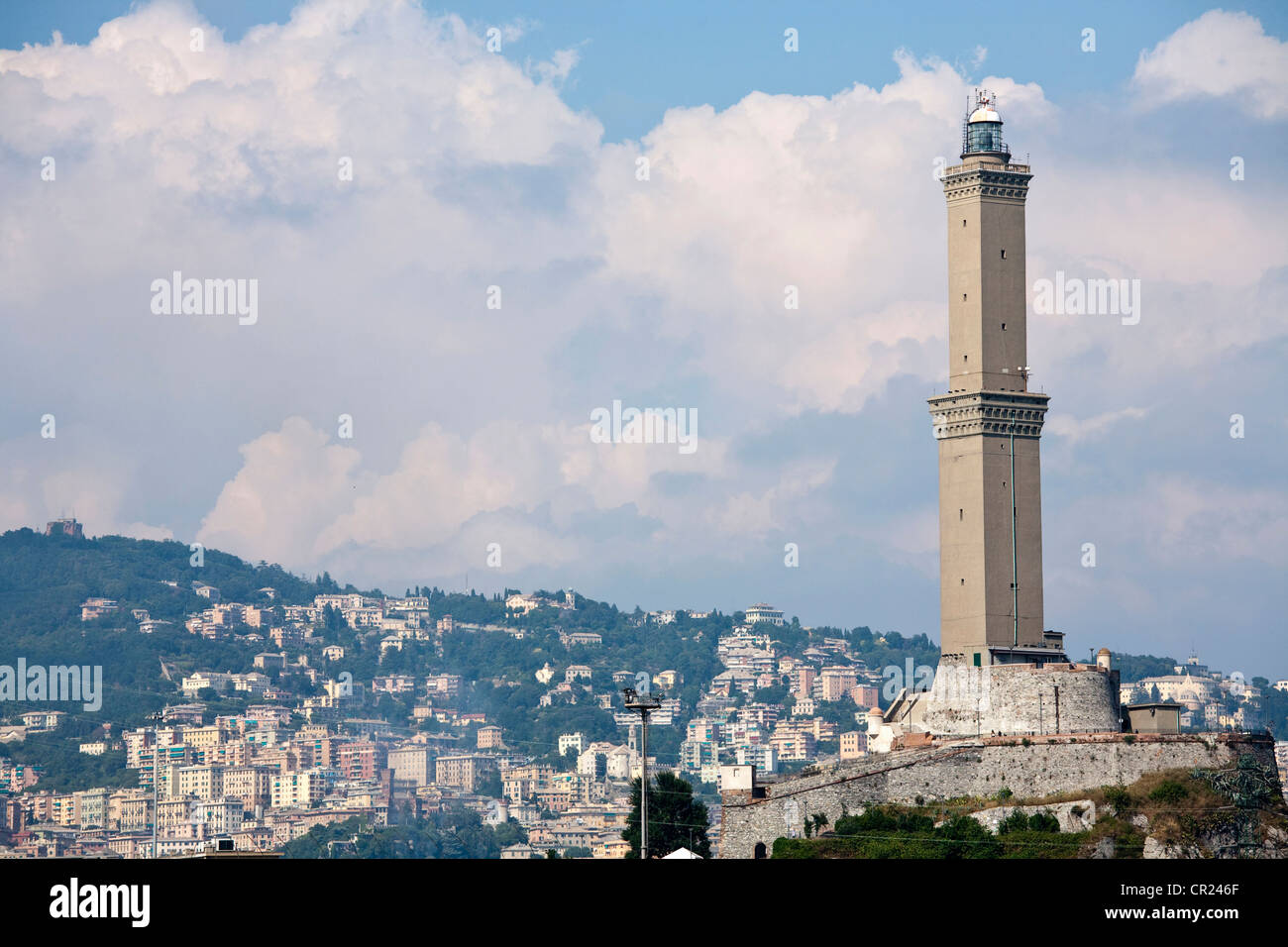 Tower overlooking coastal city - Stock Image