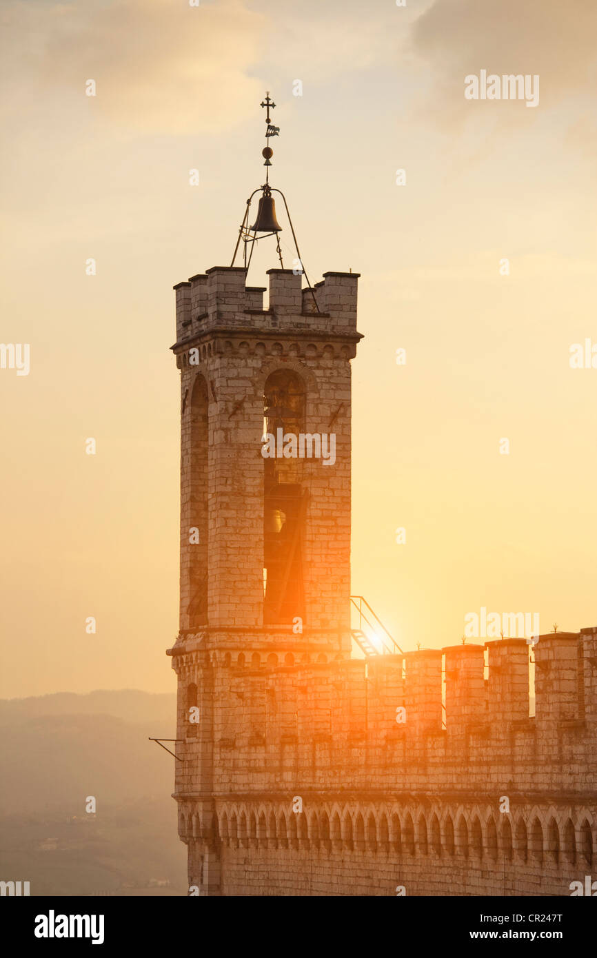 Sun shining on bell tower - Stock Image