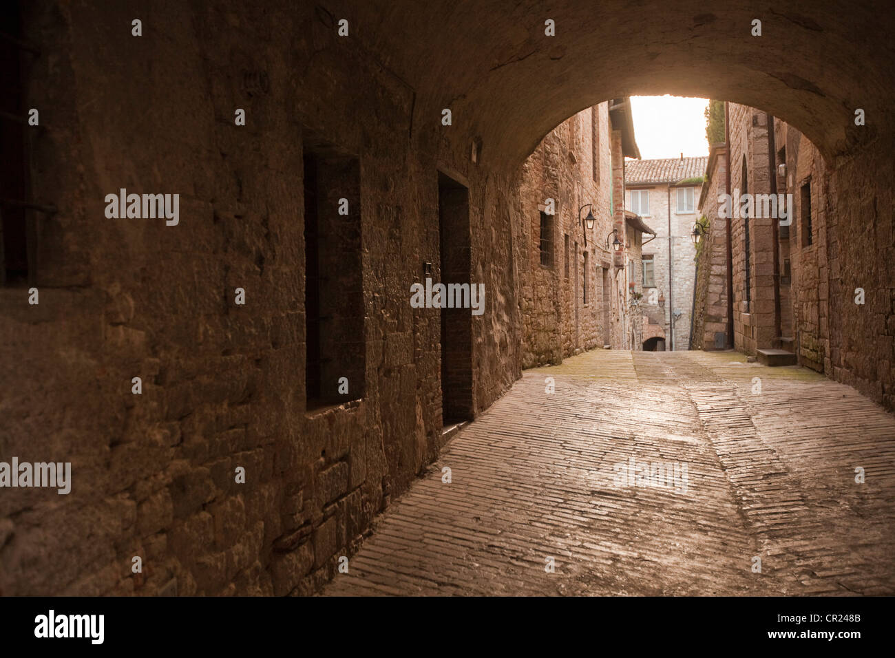 Cobbled archway in village - Stock Image