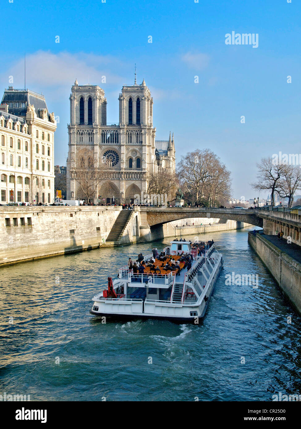Notre Dame cathedral and pleasure cruise boat on the Seine river, Paris, France, Europe - Stock Image