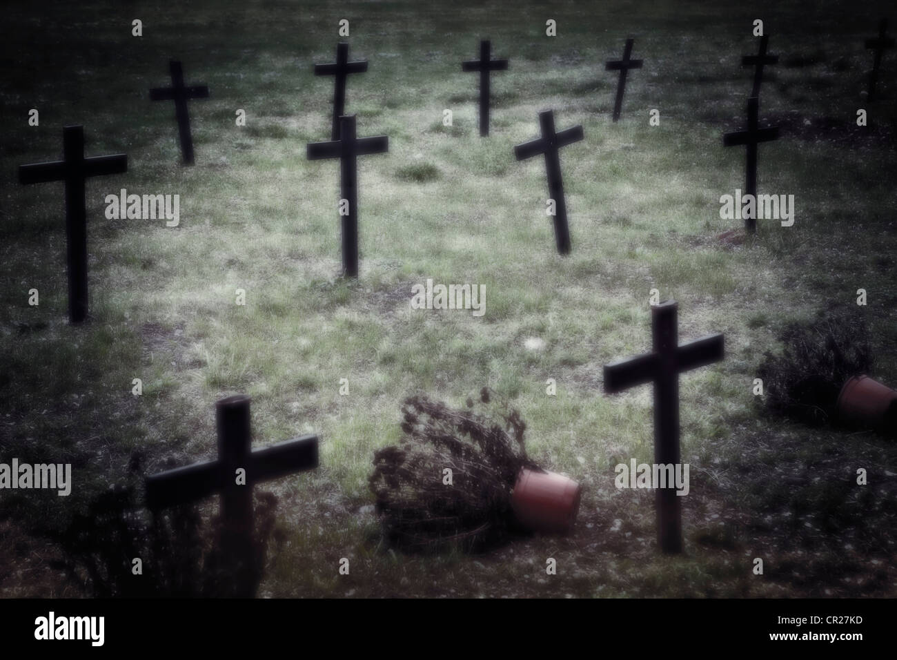 Crosses on a neglected cemetery - Stock Image