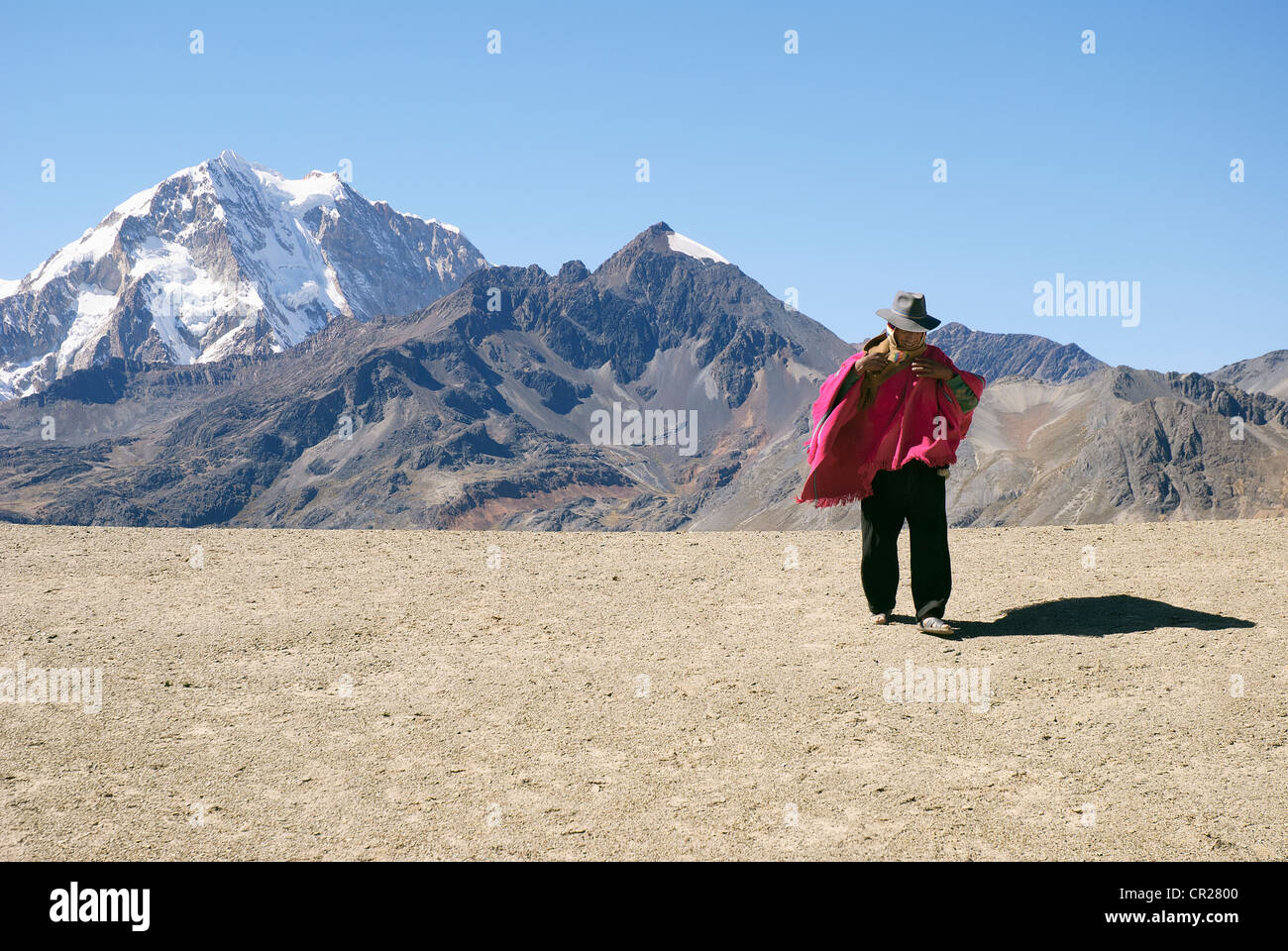 indian in the real cordillera of the andes bolivia - Stock Image