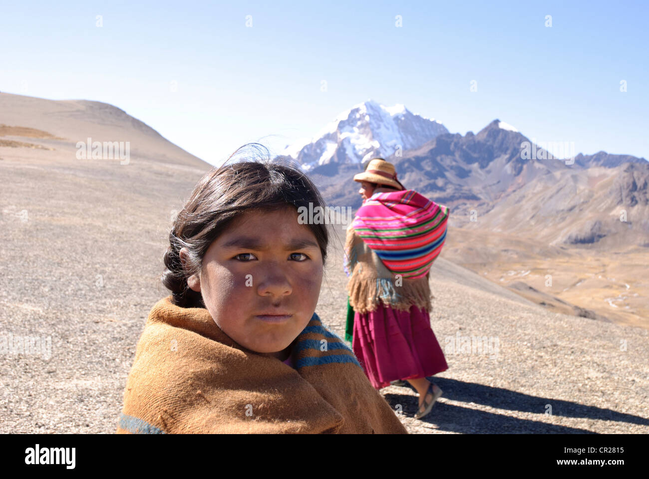 Child in the Real Cordillera of the Andes, bolivia - Stock Image
