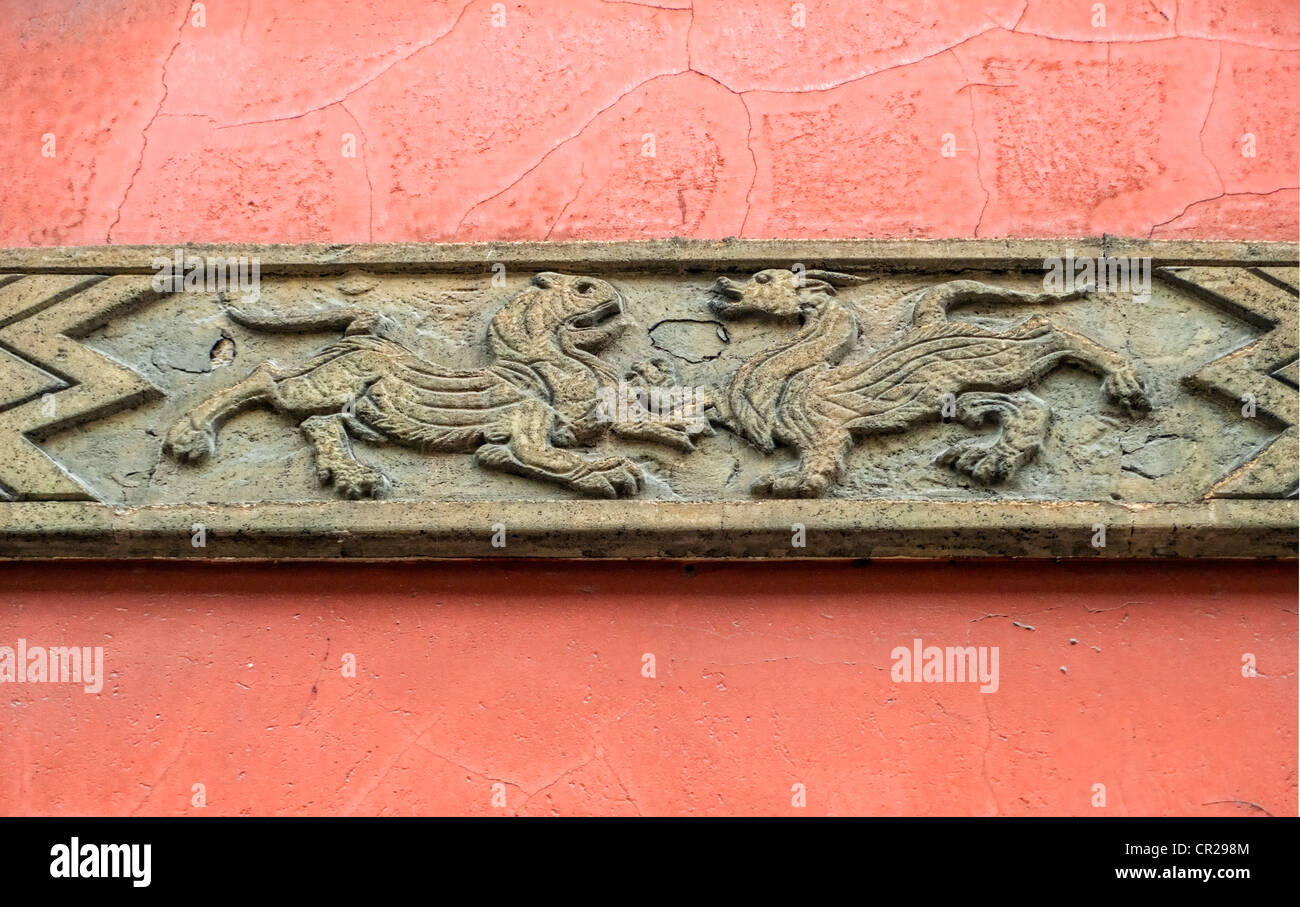 C.T. Loo & Co sign, old asian art dealer (founded 1920s) housed in famous Chinese building, Paris, France - Stock Image