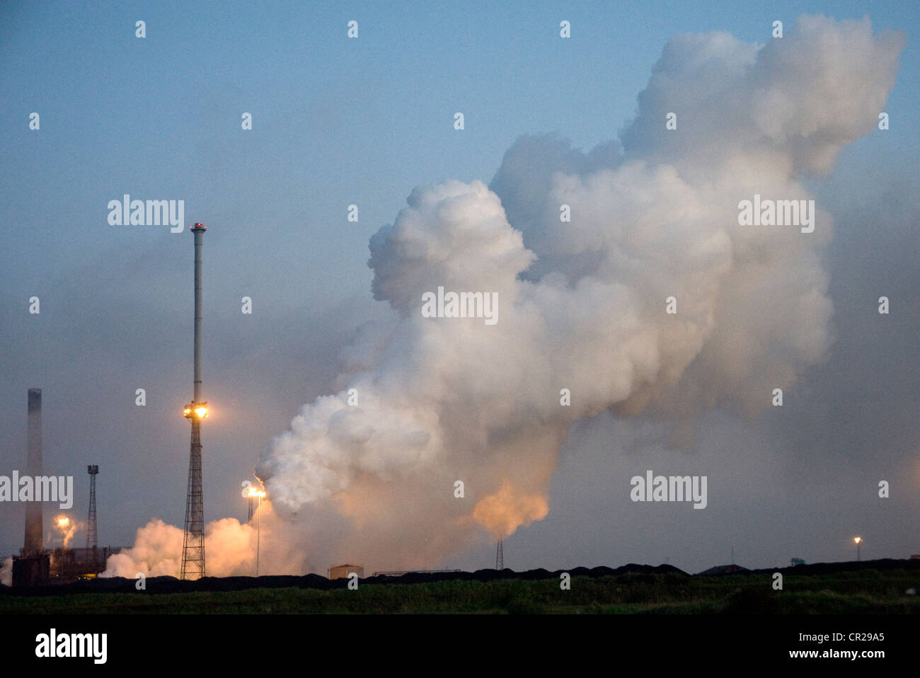 Steam from coke ovens at SSI blast furnace, Redcar. - Stock Image