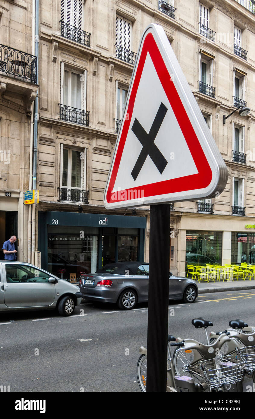 Uncontrolled junction sign in Paris, France (must give way to right) - Stock Image