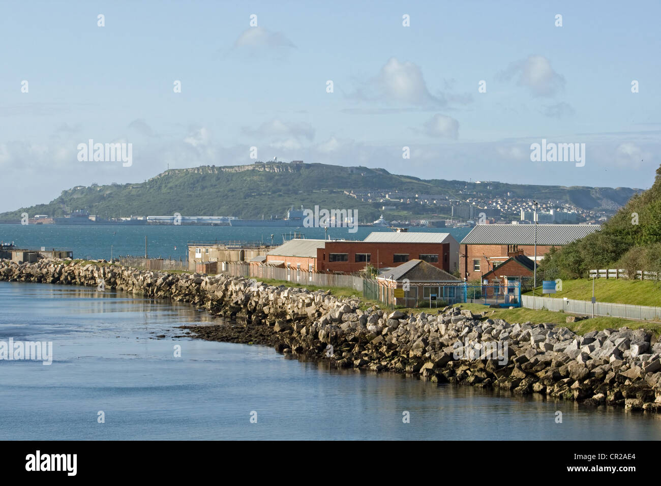 Looking from Newton's Cove,Weymouth to the Isle of Portland. - Stock Image