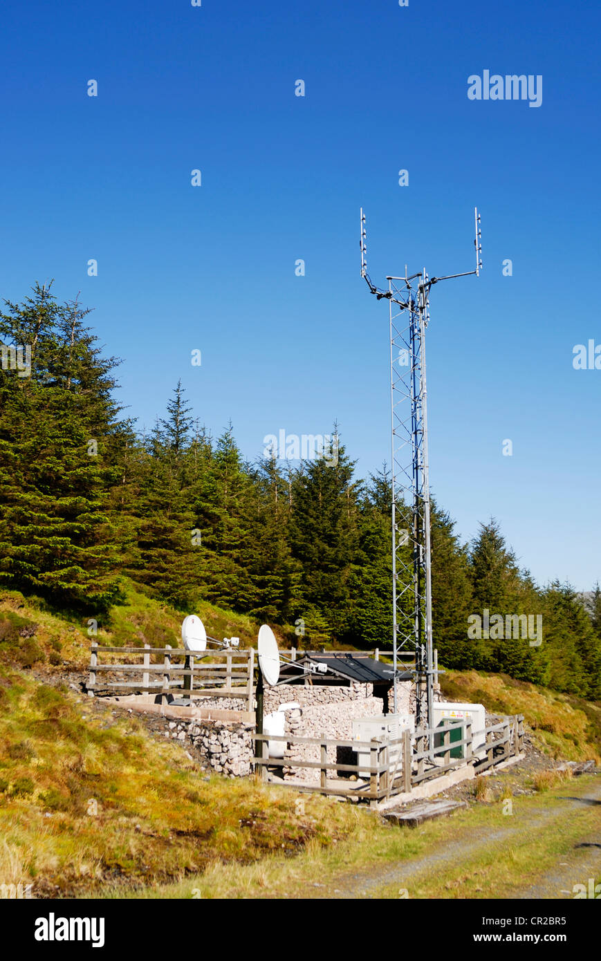 Isolated repeater station for cell phones situated in the Welsh moorlands. - Stock Image