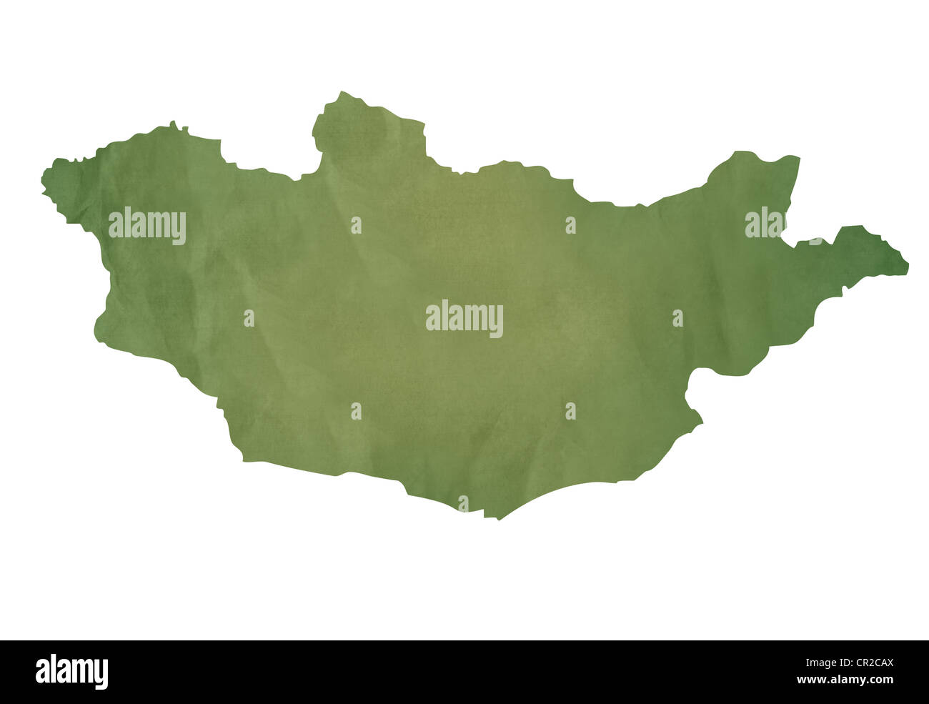 Old green map of Mongolia in textured green paper, isolated on white background. - Stock Image
