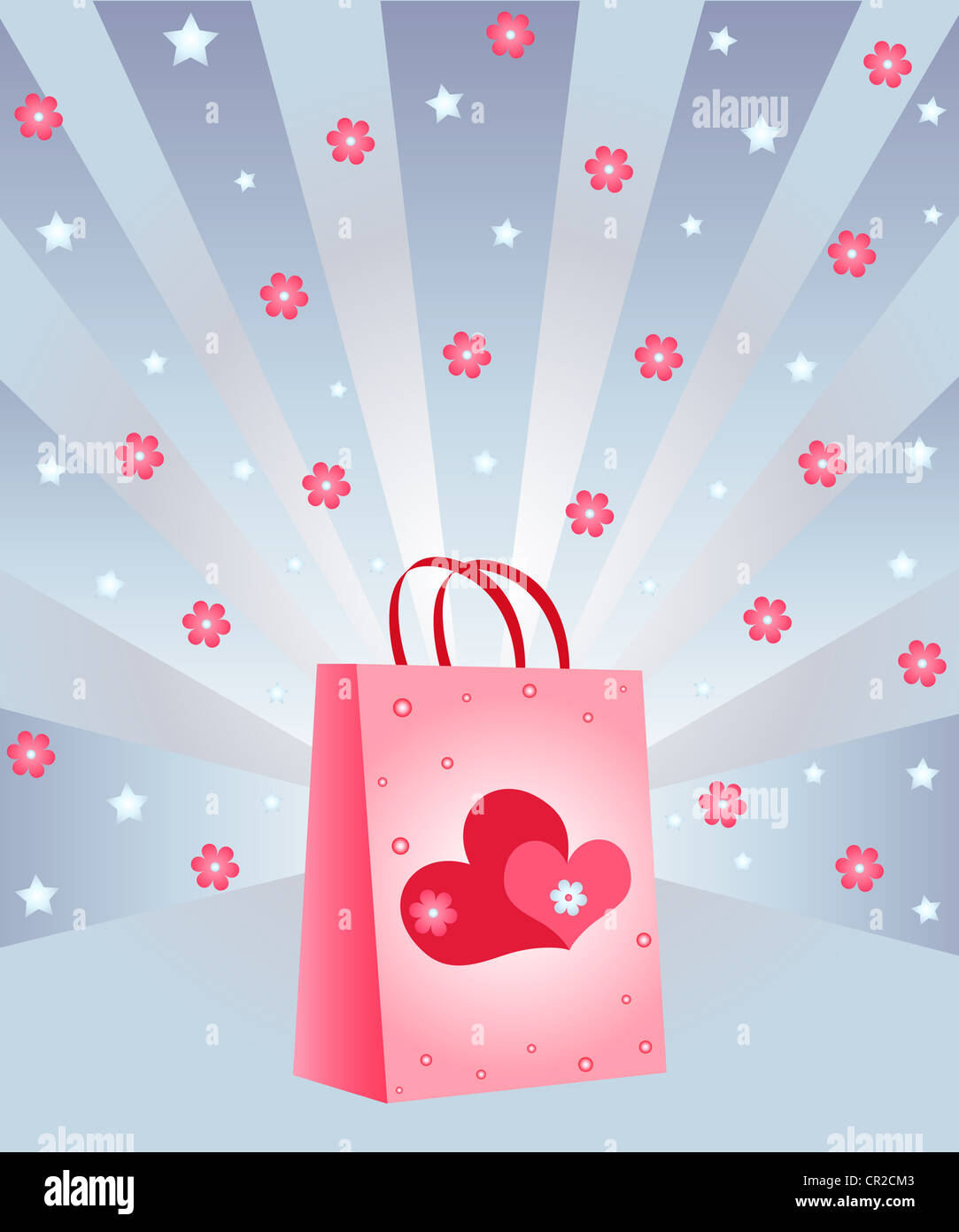 Gift bag with hearts and flowers design Stock Photo