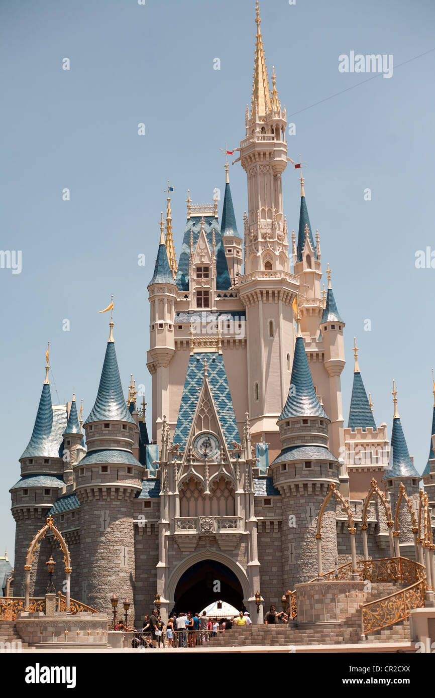 Cinderella's Castle, Scenes from the Magic Kingdom at the Walt Disney World Resort in Orlando, Florida - Stock Photo