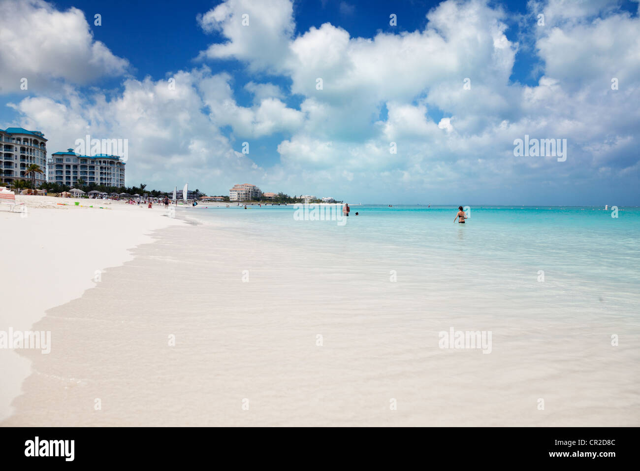 Calm turquoise waters of Grace Bay, Turks & Caicos - Stock Image