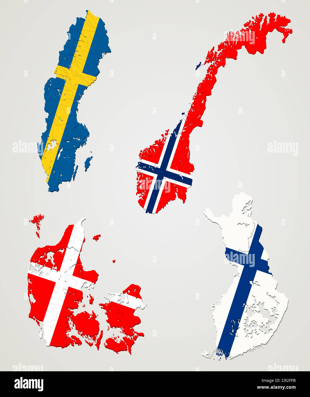Picture of: Map And Flags Of Four Major Nordic Countries Norway Sweden Finland Stock Photo Alamy