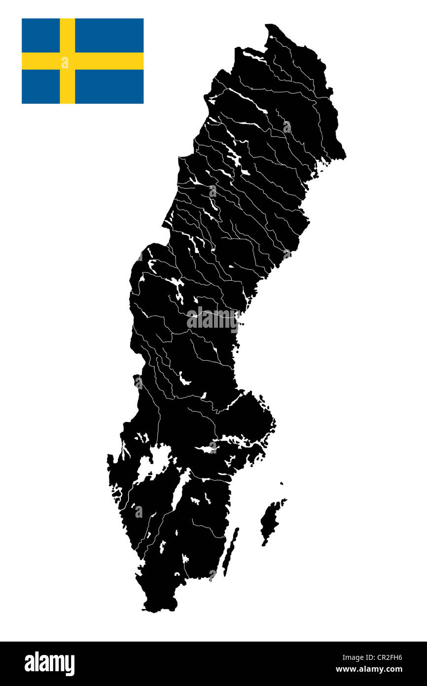 High detailed vector map of Sweden with lakes, rivers and island and flag. - Stock Image