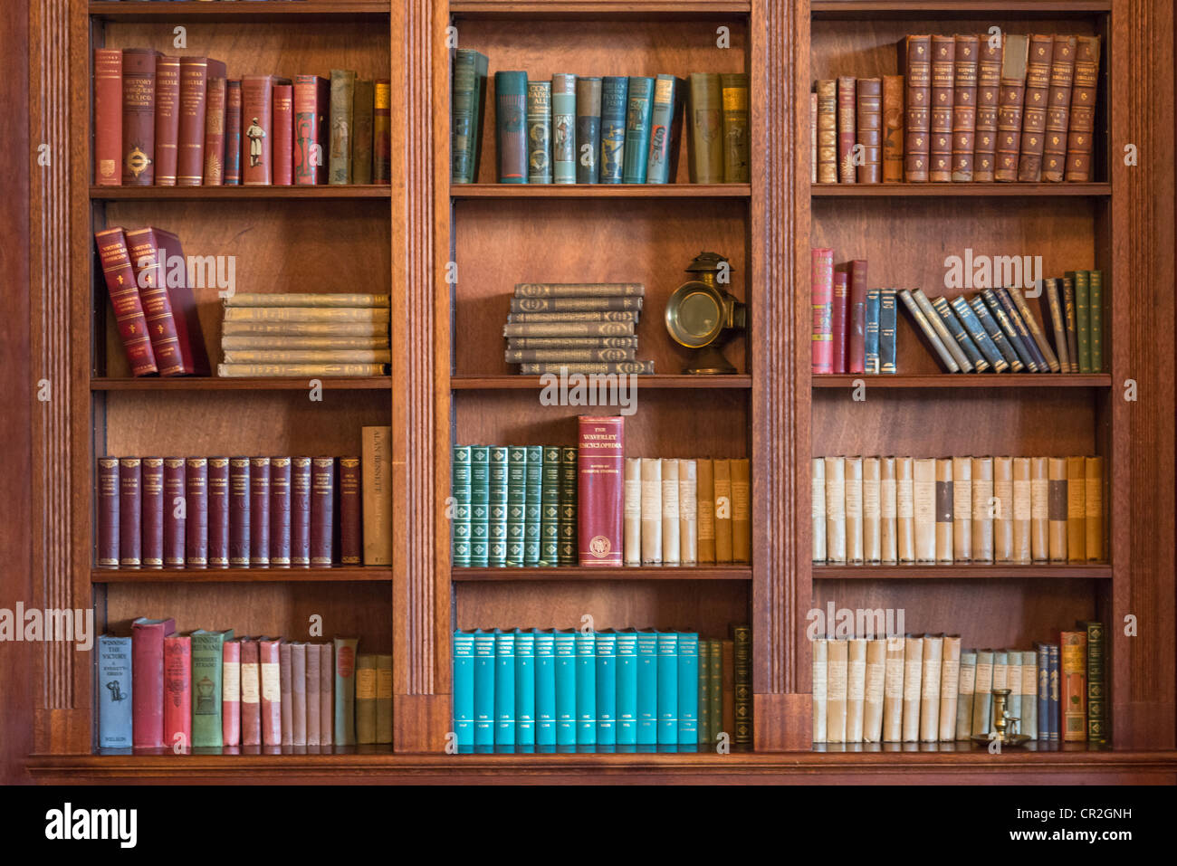 Old character bookcase, UK. - Stock Image